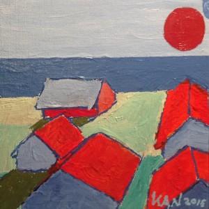 5 huse ved Havet med røde tage og rød sol