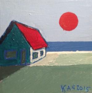 Ensomt hus ved Havet med rød sol